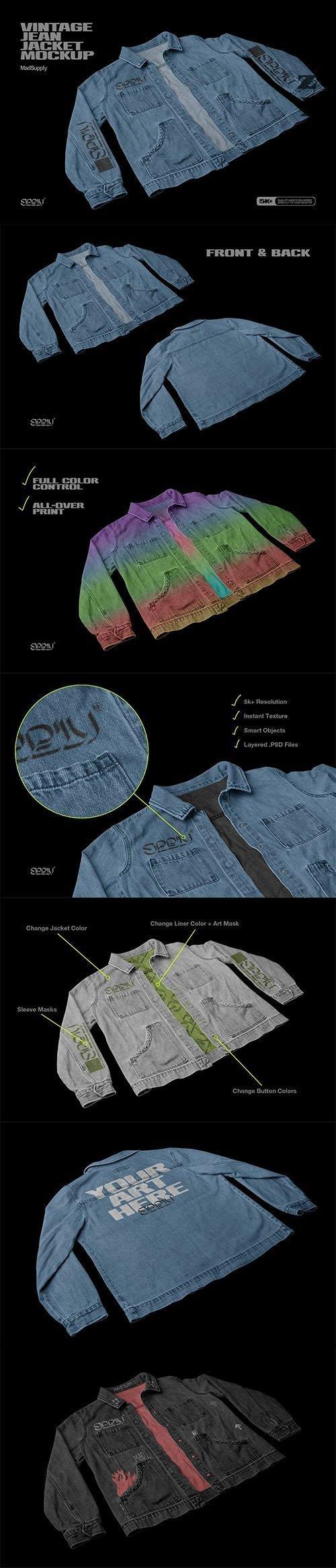 Vintage Jean Jacket Mockup 3Q View - 5945333