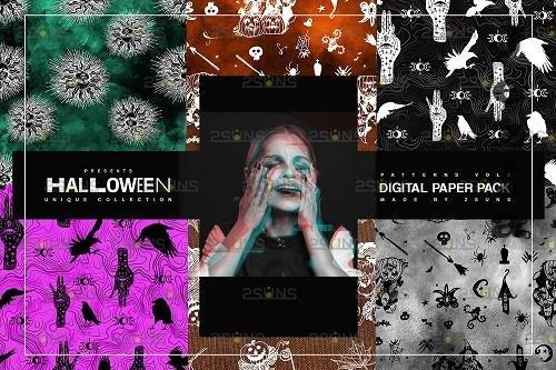 Halloween Digital Paper, Halloween Horror Witch Skulls Ghost - 781923