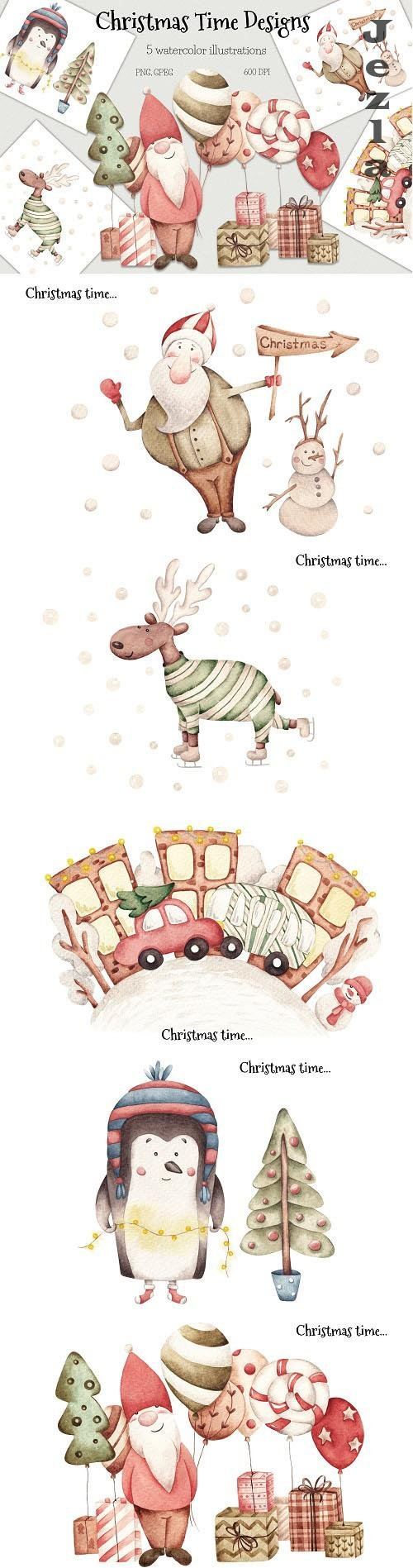 Watercolor Illustrations Christmas Time - 1602193