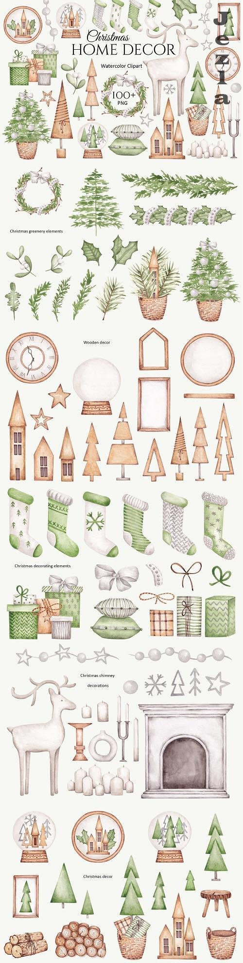 Watercolor Clipart Christmas Home Decor - 1614027