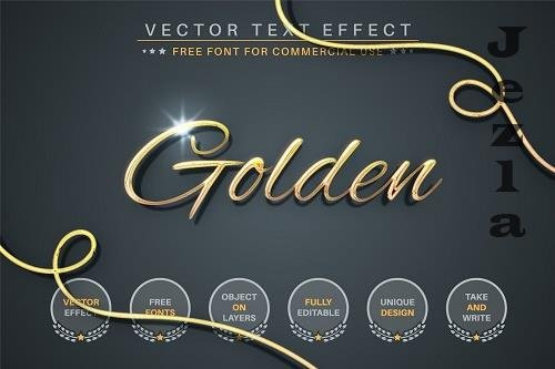Gold Lettering Editable Text Effect - 6551040