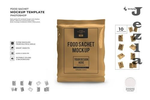 Food Sachet Packaging 3D Mockup Template Bundle - 1614950