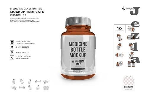 Medicine Bottle Glass Jar Packaging 3D Mockup Template Bun - 1616306