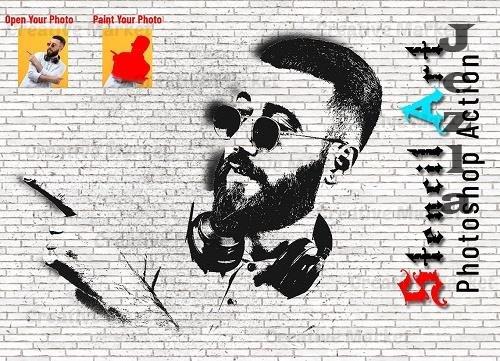 Stencil Art Photoshop Action - 6552635