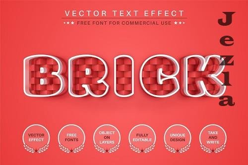 Red Brick - Editable Text Effect - 6556761