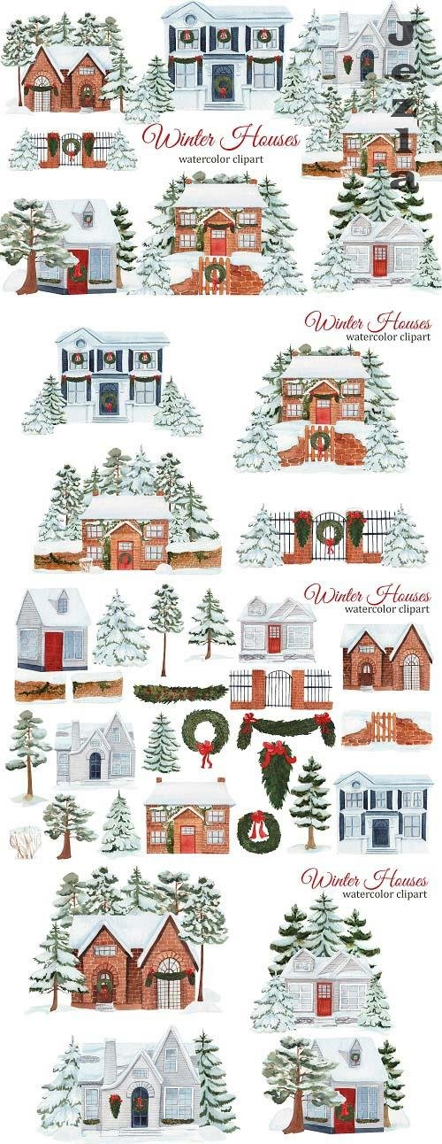 Watercolor Winter House Clipart - 1609800