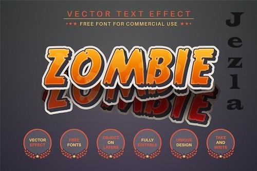 Zombie Sticker Editable Text Effect - 6560796