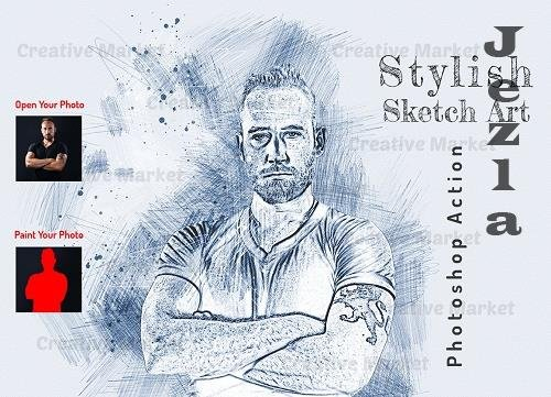Stylish Sketch Art PS Action - 6561769