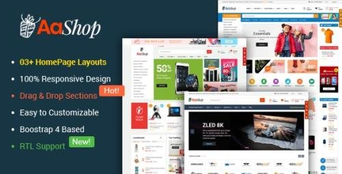 ThemeForest - AaShop v1.0.3 - Responsive & Multipurpose Sectioned Bootstrap 4 Shopify Theme - 23181870