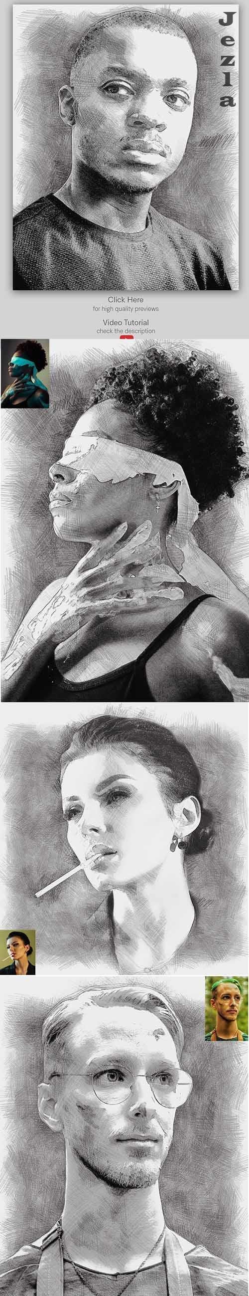 Digital Pencil Photoshop Action - 33994474
