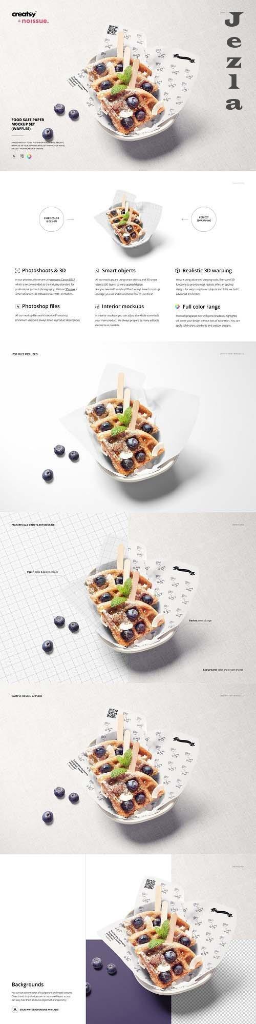 Food Safe Paper Mockup (waffles) - 6401322