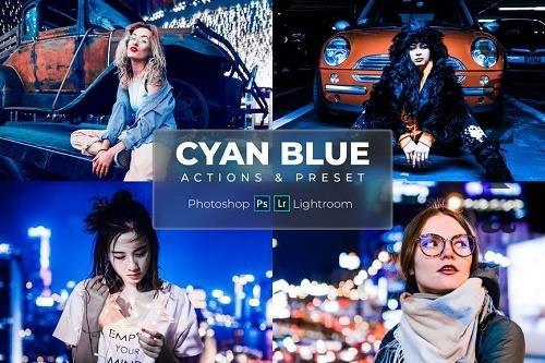 Photoshop Actions & Lightroom Presets - Cyan Blue