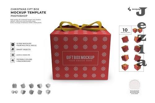 Christmas Gift Box 3D Mockup Template Bundle - 1629570