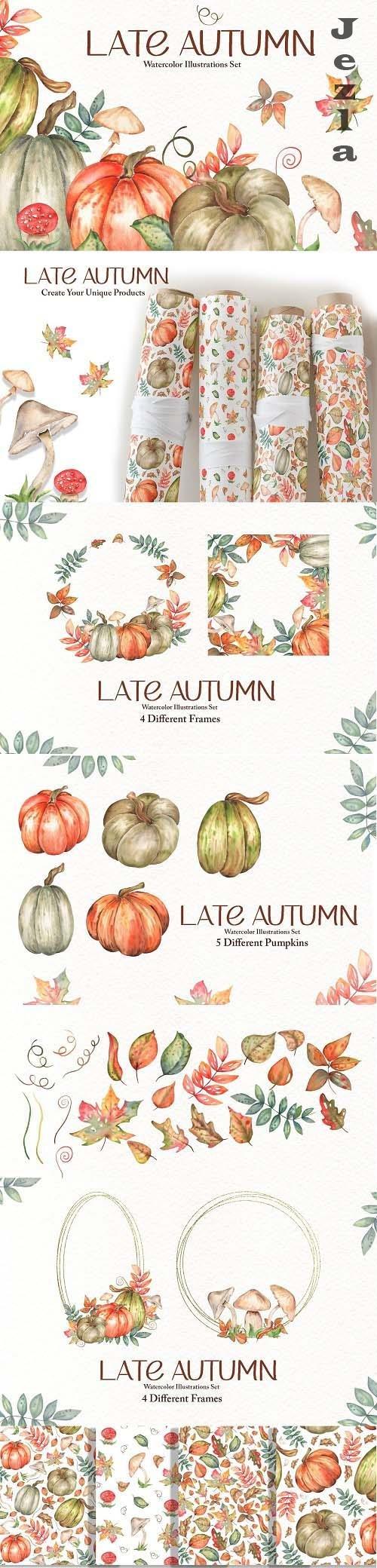 Late Autumn Watercolor Set - 6575931
