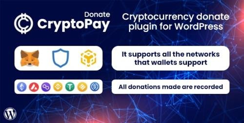 CodeCanyon - CryptoPay Donate v1.0.1 - Cryptocurrency donate plugin for WordPress - 34241416