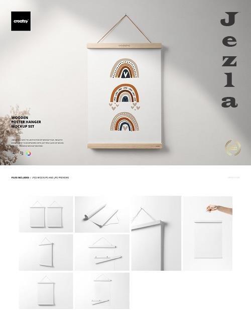 Wooden Poster Hanger Mockup Set - 6498818