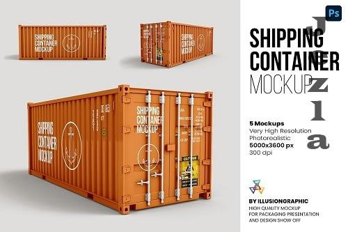 Shipping Container Mockup - 5 views - 6308053