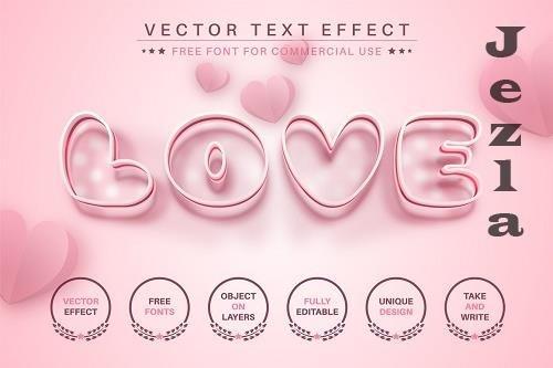 Love Heart - Editable Text Effect - 6596954