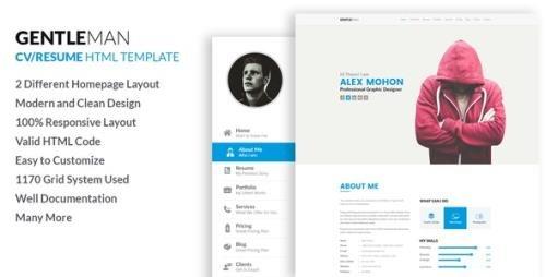 ThemeForest - Gentleman v1.0 - Responsive CV / Resume HTML Template - 19168984